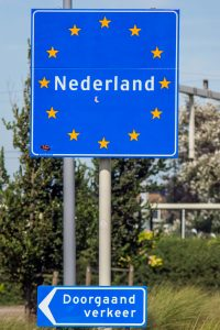 "Illustration: photo of the first ""Nederland"" (The Netherlands) sign once you roll off the Stena Line ferry."