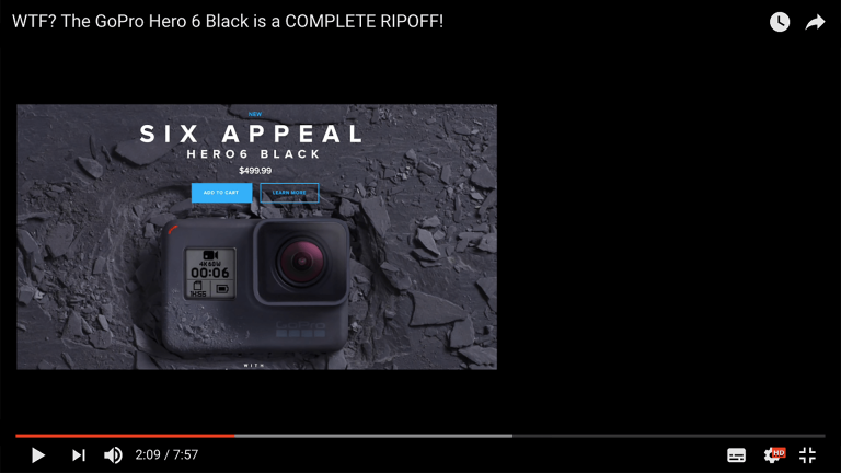 Screendump video GoPro Hero6 Black being a complete ripoff.